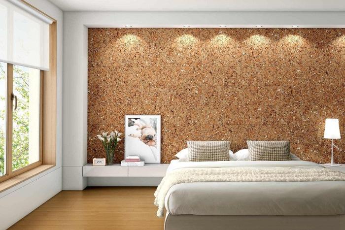 пробковое покрытие стены спальни