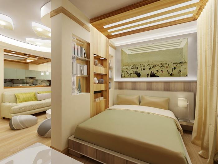 Гипсокартонная перегородка между спальней и гастиной