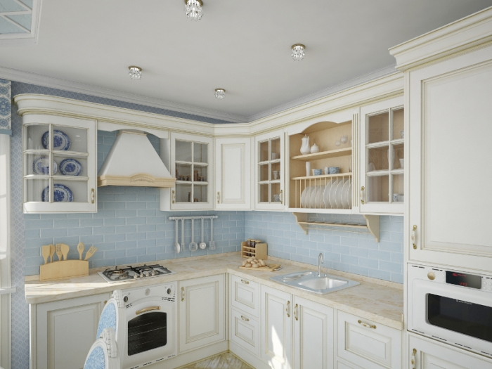 интерьер кухни в стиле прованс отделка мебель освещение