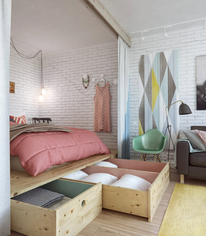 как разделить зону спальни и гостиной