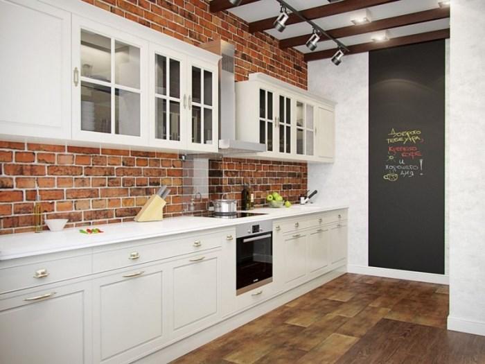 белый гарнитур на кухне лофт