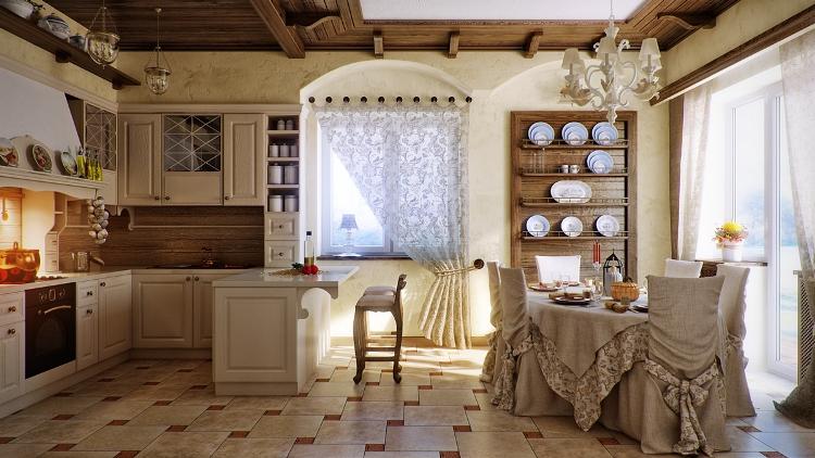 кантри в интерьере кухни