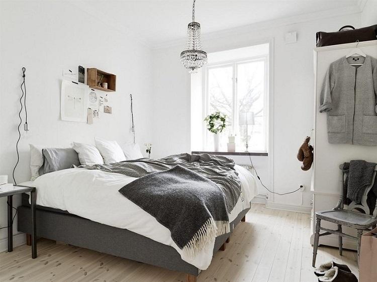 люстра в скандинавской спальне
