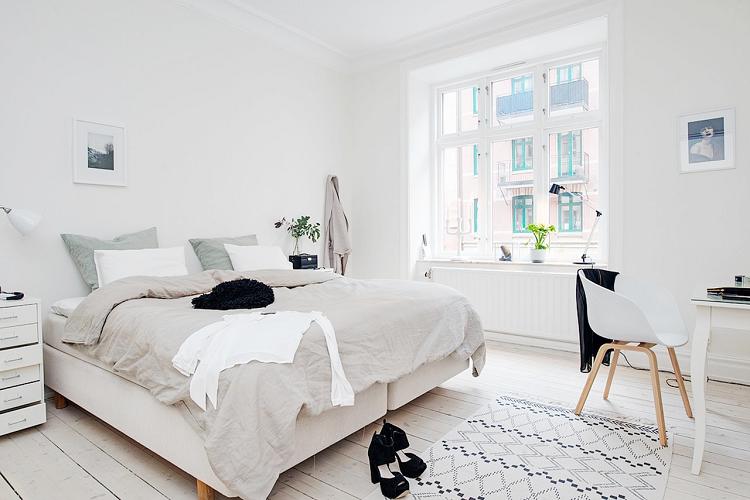 освещение в скандинавской спальне