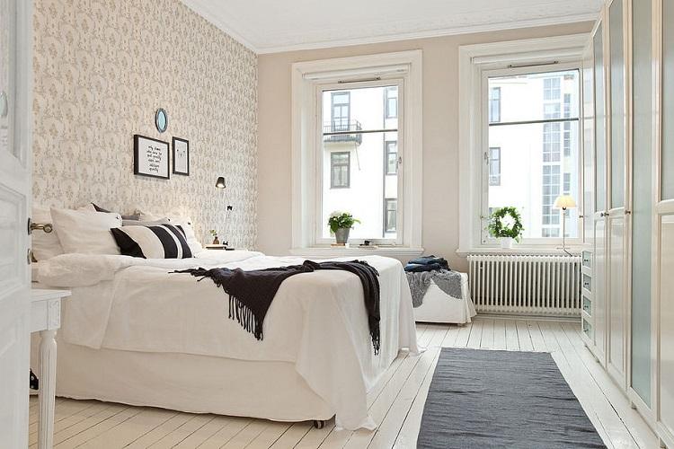 интерьер скандинавской спальни