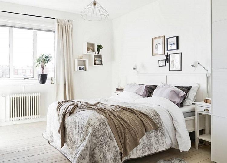 шторы в скандинавской спальне