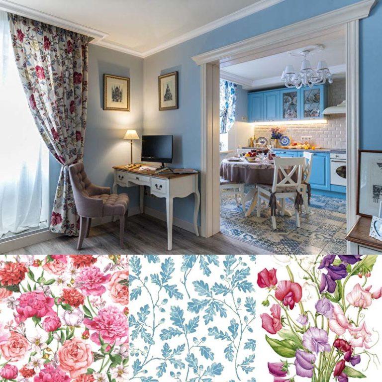 цветочный текстиль в интерьере